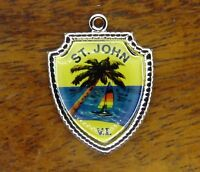 Vintage silver ST. SAINT JOHN VIRGIN ISLANDS PALM TREE TRAVEL SHIELD charm #E14