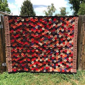 Vintage Handmade Hexagon wool patchwork quilt 83.25 x 69