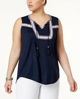 Style & Co Plus Size Tie Neck Peasant Top Blouse NEW Size 2X Industrial Blue