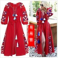 Womens Vintage Ethnic Embroidery Full Length Puff Sleeve Linen Blend Long Dress