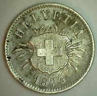 1873 Switzerland 5 Rappen Switzerland Coin Almost Uncirculated AU
