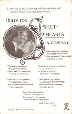 R192573 Attention to the following well meant hints. Rules for Sweethearts in co