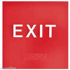 "10 NEW ADA Compliant EXIT signs Tactile Characters & Grade II Braille 4""x4"" RED"