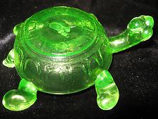 Green Vaseline glass Turtle firgurine uranium yellow art sea glow canary firgure