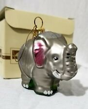 Elephant Christmas Ornament Mouth Blown Hand Painted 2 inches Poland