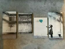 Canvas Wall Art of Banksy Balloon Girl in Teal - new
