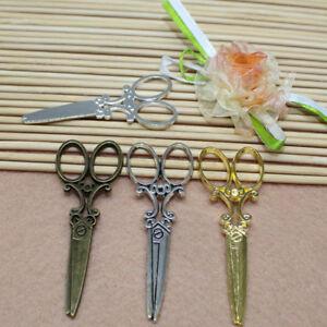 5/15pcs  multi-color alloy mini exquisite scissors decorative pendant 60x25mm