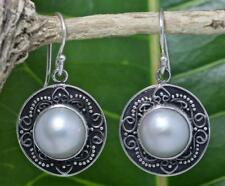 Handmade Sterling Silver .925 Bali Round Dangle Earrings w White Mabe Pearl.