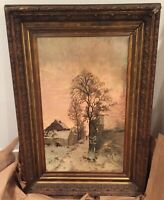 Signed & Framed Original Lucien Frank Belgium (1857-1920) Oil on Canvas- 1 of 2