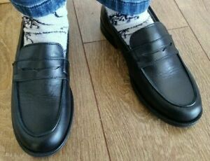 Papouelli Hugo black patent leather slip-on loafer shoes EU38 UK 5 RRP £89