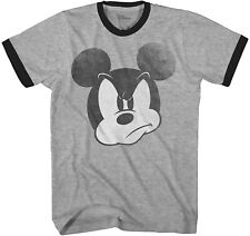 Mad Mickey Mouse Ringer Graphic Classic Adult Tee Graphic T-Shirt for Men Tshirt