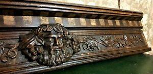 Bacchus wine vine wood carving pediment Antique french architectural salvage