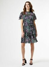 Dorothy Perkins Womens Black Chiffon Floral Print Flippy Mini Dress Short Sleeve