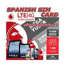 VODAFONE YUSER 4G LTE SPANISH PREPAID PAYG SIM CARD 1,2 GB INTERNET SPAIN SMART