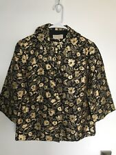 Vintage LUREX Black Gold Floral Set HONG KONG Mid Century MOD Size M/L WITH TAGS