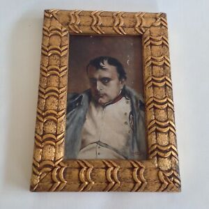 Antique French Military, miniature portrait painting of Napoleon 1904.