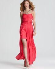 AQUA ~ Pink Chiffon Sequins Hi-Low Semi-Formal Gown Size 2 NEW $248