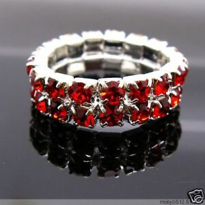NEW 2 ROW RED  DIAMANTE STRETCH RING-BRAND NEW
