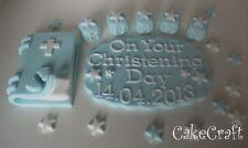 Christening Baptism plaque,Bible blocks Edible Handmade cake decorations topper