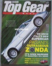 Top Gear 09/1999 featuring Honda S2000, Lotus Elise, Pagani Zonda C12, Audi S3
