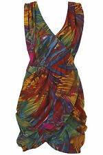 NEW NWT WAREHOUSE BRIGHT SAFARI BRAZIL TROPICAL WRAP DRAPE BUBBLE DRESS 8 4 36