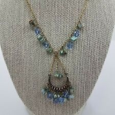 Boho Beaded Necklace Shell Blue Gold Tone India Dangle Chain Tribal