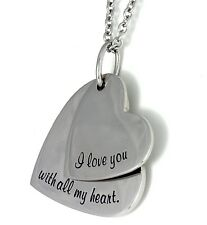 """I Love You with All My Heart"" Necklace 2 Pendant Stainless Steel Silver"