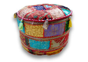 "18"" Indian Patchwork Round Small Size Pouf Cover Vintage Footstool Pouffe Cover"
