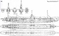 U-BOAT TYPE I GERMAN SUBMARINE DETAILED PLAN KRIEGSMARINE UNTERSEEBOOT 1906 WWI