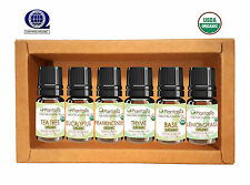 Organic Essential Oil Set 6 x 5 ML Tea Tree Frankincense Lemongrass  Plantasia