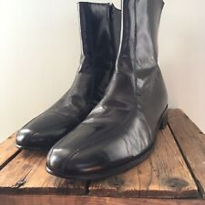 Nunn Bush Men's Sz 12D  BEATLE Ankle Boots Side Zip Biker Black Leather Sleek