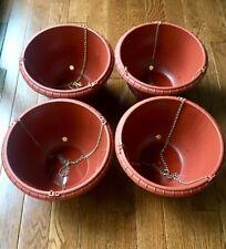 "x4, 12"" Hanging Planters Large Plastic Terra Cotta Brown Basket, w/Hook & Chain"