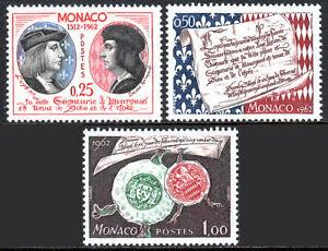 Monaco 501-503, MNH Souveraineté De Louis XII, 450th Anniv.lucien Grimaldi, 1962