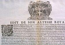 AFFICHE 1688 DUC SAVOIE EDIT ALTESSE ROYALE CHARLES EMMANUEL PLACARD CHAMBERY