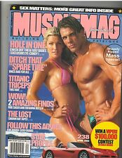 MUSCLEMAG bodybuilding SWIMSUIT muscle mag/FRANK SEPE & RACHEL MOORE 4-02 #238