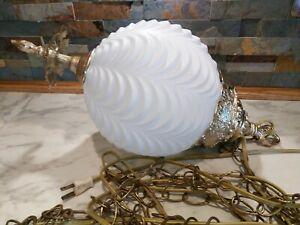 Vintage Hollywood Regency Light Ball Globe Pendant Swag White Milk Glass Lamp