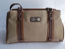 "MultiSac Handbag Satchel Size 13X8"" Medium Beige With Brown Accents Vinyl"