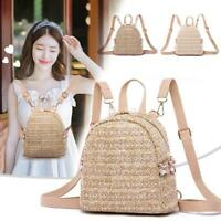 Fashion Straw Pearl Backpack Women Girls Travel Casual Shoulder Schoolbags Bags
