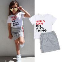 US Toddler Kids Baby Girl Summer Outfit Clothes T-shirt Tops+Tutu Skirt 2PCS Set