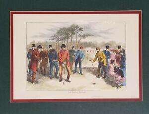 1870 Golf Match on Blackheath Lithograph ETCHING H Harral F Gilbert Art vtg RARE