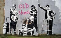 "BANKSY STREET ART *FRAMED* CANVAS PRINT Old Skool 16""X 12"" stencil -"