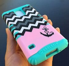 For Samsung Galaxy S5 - HARD & SOFT RUBBER HYBRID SKIN CASE PINK CHEVRON ANCHOR