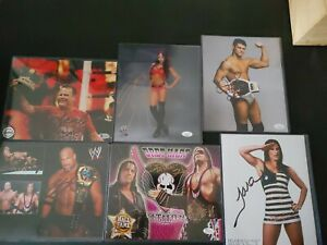 WWE & WWF Wrestling JSA Beckett LOT of 6 8x10 Autograph Photos COA and Cards