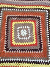 Handmade Afghan Throw Granny Square Brown Orange Yellow White Tan