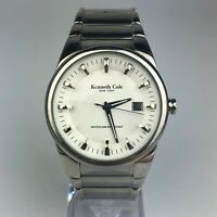 Kenneth Cole New York Mens Date Watch KC3483 Round Silver All Stainless Steel