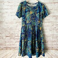 Lularoe Womens Amelia Floral Fit Flare Stretch Dress Size XL Navy Yellow Teal