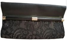 DIANE VON FURSTENBERG ENVELOPE CLUTCH WALLET SILVER BLACK LEATHER