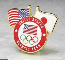 OLYMPIC PINS BADGE 2020 TOKYO JAPAN TEAM USA NOC FLAG RINGS ROUND logo
