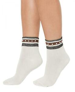 nWT HUE Womens Embellished Metallic-Stripe Anklet Socks. U20340
