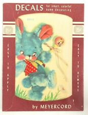 Vintage Meyercord Decal Transfer 890-E MidCentury Blue Bunny w/ Baby Rattle